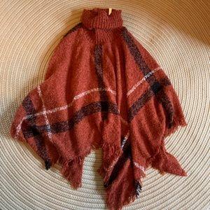 Sweaters - Orange Plaid Shawl O/S